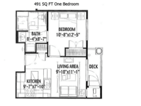 496 SQ FT ONE BEDROOM