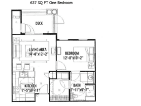 637 SQ FT ONE BEDROOM