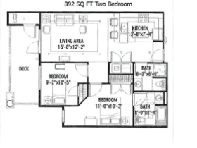 892 SQ FT TWO BEDROOM