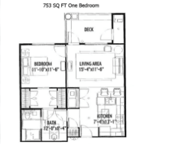 753 SQ FT ONE BEDROOM