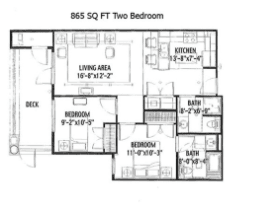 865 SQ FT TWO BEDROOM