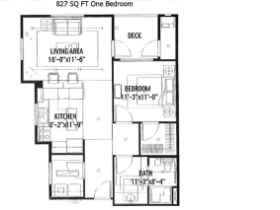 827 SQ FT ONE BEDROOM