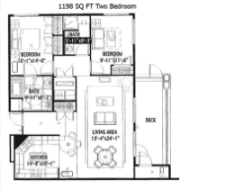 1198 SQ FT TWO BEDROOM