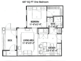 687 SQ FT ONE BEDROOM
