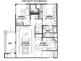 1183 SQ FT TWO BEDROOM