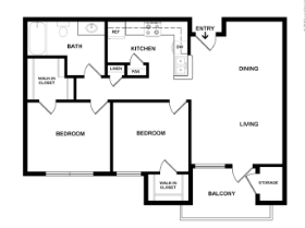 2 Bedroom 1 Bath, Balcony